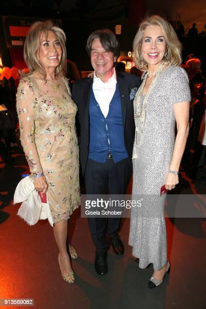 Renate ThyssenHenne host Michael Kaefer and Princess Gabriele zu Leiningen during Michael Kaefer's 60th birthday celebration at Postpalast on...