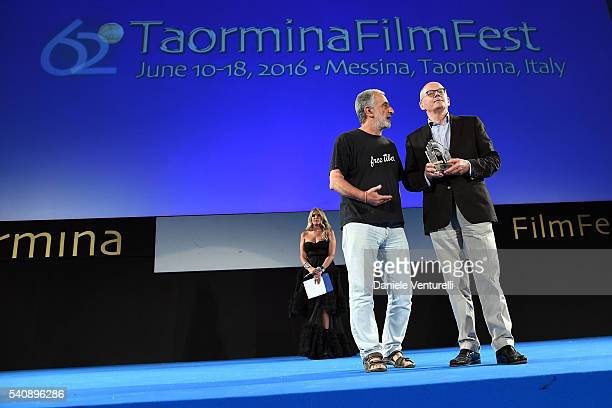 Renato Accorinti and Carlo Brancaleoni attend 62 Taormina Film Fest - Day 6 on June 16, 2016 in Taormina, Italy.