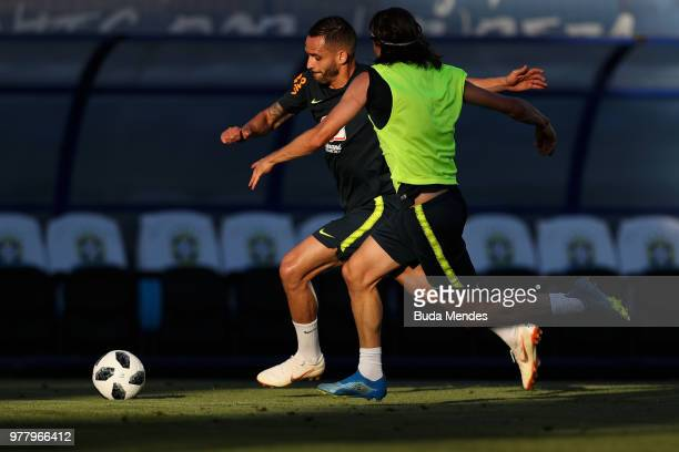 Renato Augusto and Filipe Luis in action during a training session at YugSport Stadium on June 18 2018 in Sochi Russia