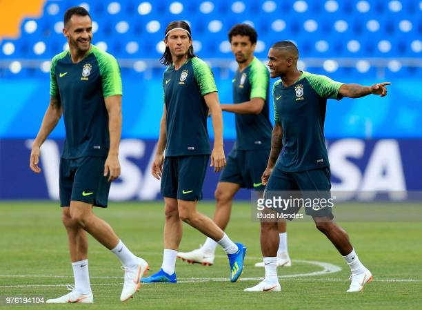 Renato Augusto Filipe Luis and Douglas Costa of Brazil during a Brazil training session ahead of the FIFA World Cup 2018 at Rostov Arena on June 16...