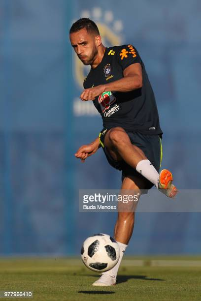 Renato Augusto kicks the ball during a training session at YugSport Stadium on June 18 2018 in Sochi Russia