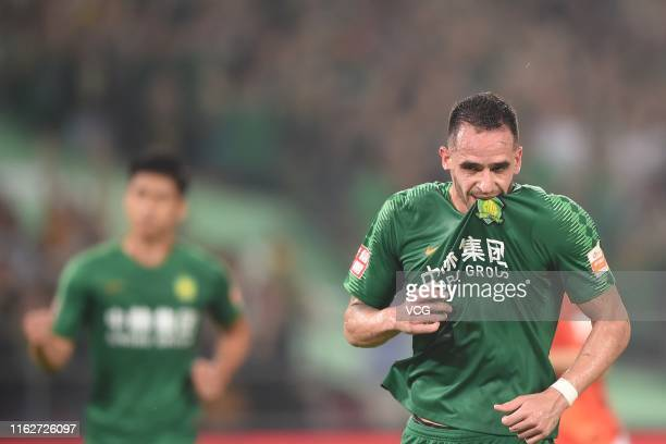 Renato Augusto of Beijing Guoan celebrates after scoring a goal during the 2019 Chinese Football Association Super League 18th round match between...