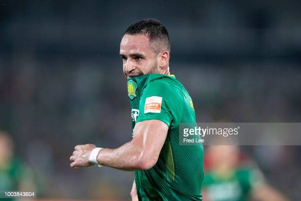 Renato Augusto of Beijing Guoan celebrates after scoring his team's first goal during 2018 Chinese Super League match between Beijing Guoan and...