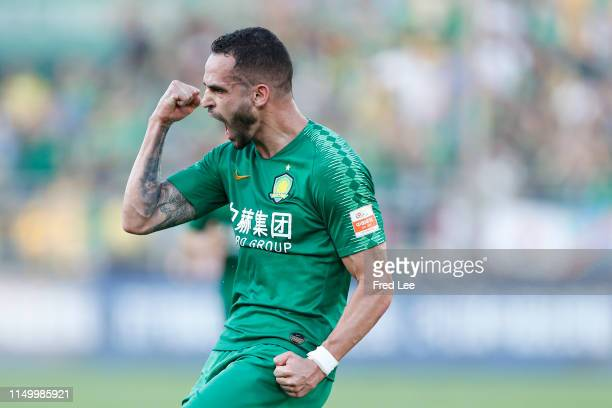 Renato Augusto of Beijing Guoan celebrates after scoring his team's goal during 2019 China Super League between Beijing Guoan and Shanghai Shenhua...
