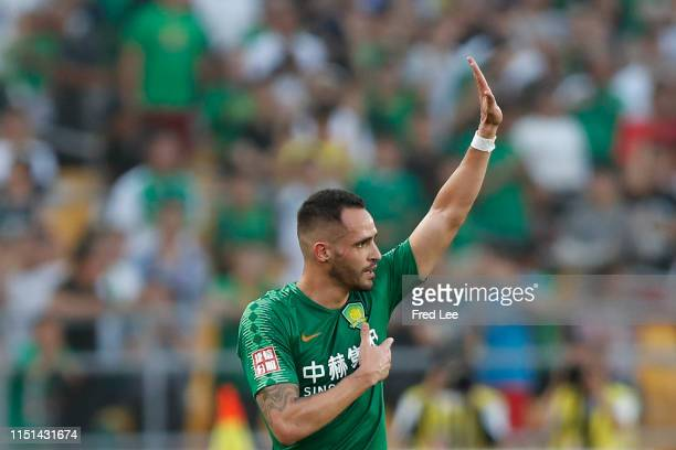 Renato Augusto of Beijing Guoan celebrates after scoring his team's goal during 2019 China Super League between Beijing Guoan and Guangzhou RF at...