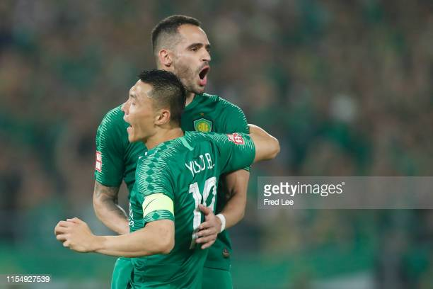 Renato Augusto of Beijing Guoan celebrates after scoring his team's goal during 2019 China Super League between Beijing Guoan and Chongqing SWM...