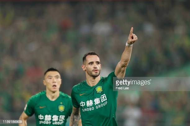 Renato Augusto of Beijing Guoan celebrates after scoring his team's goal during 2019 China Super League between Beijing Guoan and Hebei China Fortune...