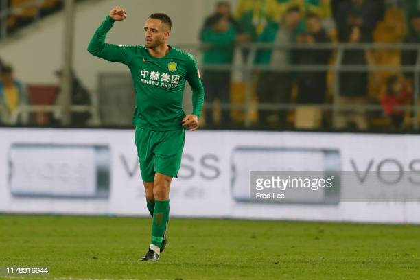 Renato Augusto of Beijing Guoan celebrates after scoring his team's goal during 2019 China Super League Beijing Guoan v Tianjin Teda at Beijing...