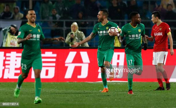 Renato Augusto of Beijing Guoan FC celebrates a goal during 2018 China Super League match between Beijing Guoan and Guangzhou Evergrande Taobao at...
