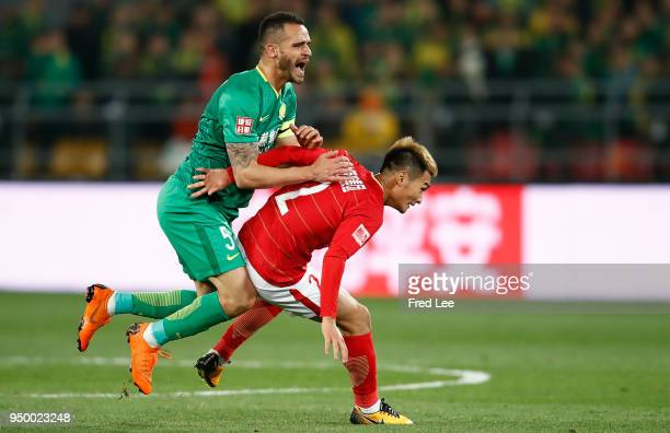 Renato Augusto of Beijing Guoan FC in action during during 2018 China Super League match between Beijing Guoan and Guangzhou Evergrande Taobao at...