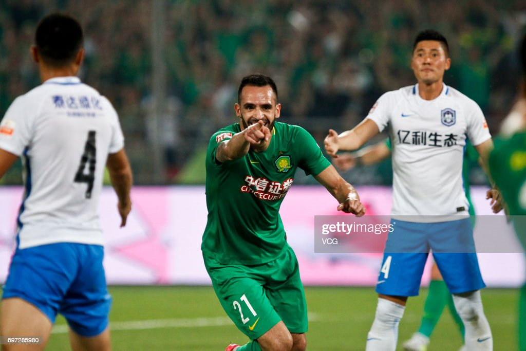 Renato Augusto # 21 of Beijing Guoan reacts during the 13th round match of 2017 Chinese Football Association Super League (CSL) between Beijing Guoan and Tianjin Teda at Beijing Workers' Stadium on June 18, 2017 in Beijing, China.