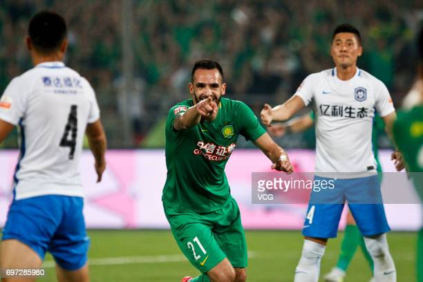Renato Augusto of Beijing Guoan reacts during the 13th round match of 2017 Chinese Football Association Super League between Beijing Guoan and...
