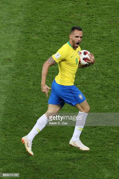 Renato Augusto of Brazil celebrates after scoring his team's first goal during the 2018 FIFA World Cup Russia Quarter Final match between Brazil and...