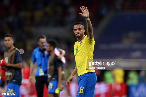Renato Augusto of Brazil celebrates victory folowing the 2018 FIFA World Cup Russia group E match between Serbia and Brazil at Spartak Stadium on...