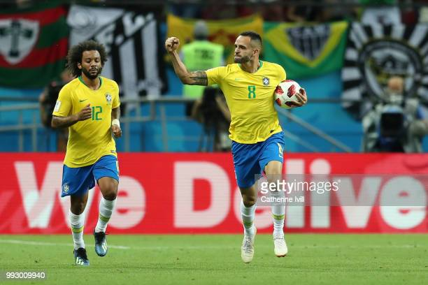 Renato Augusto of Brazil celebrates with team mate Marcelo after scoring his team's first goal during the 2018 FIFA World Cup Russia Quarter Final...