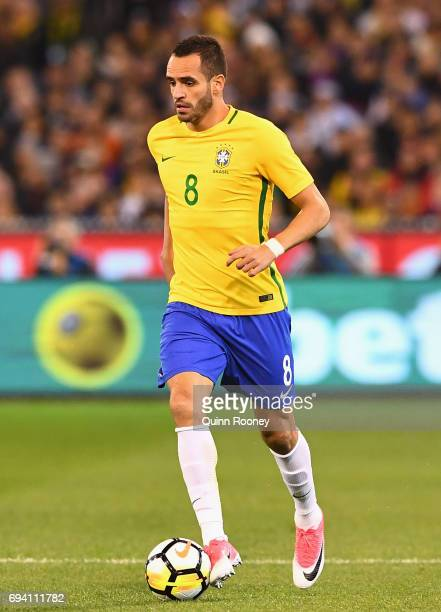 Renato Augusto of Brazil passes the ball during the Brazil Global Tour match between Brazil and Argentina at Melbourne Cricket Ground on June 9 2017...