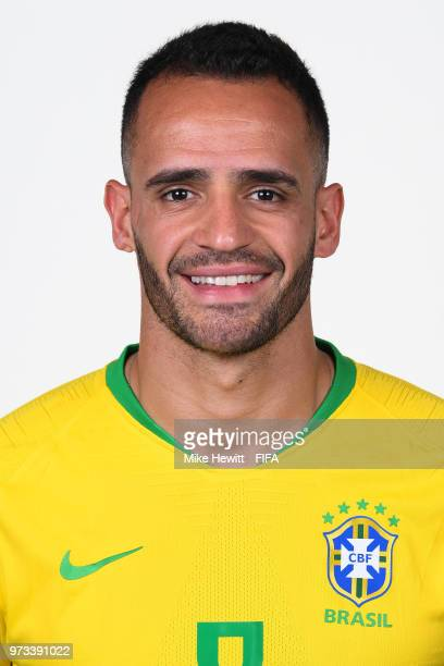 Renato Augusto of Brazil poses for a portrait during the official FIFA World Cup 2018 portrait session at the Brazil Team Camp on June 12 2018 in...