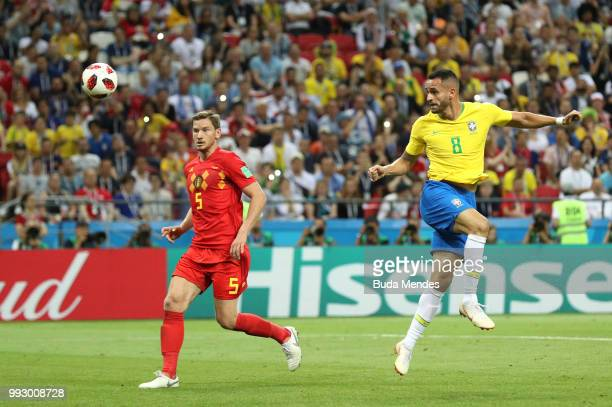 Renato Augusto of Brazil scores his team's first goal during the 2018 FIFA World Cup Russia Quarter Final match between Brazil and Belgium at Kazan...
