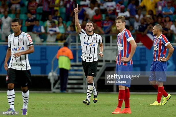 Renato Augusto of Corinthians celebrate a scored goal against Bahia during the match between Bahia and Corinthians as part of Brasileirao Series A...