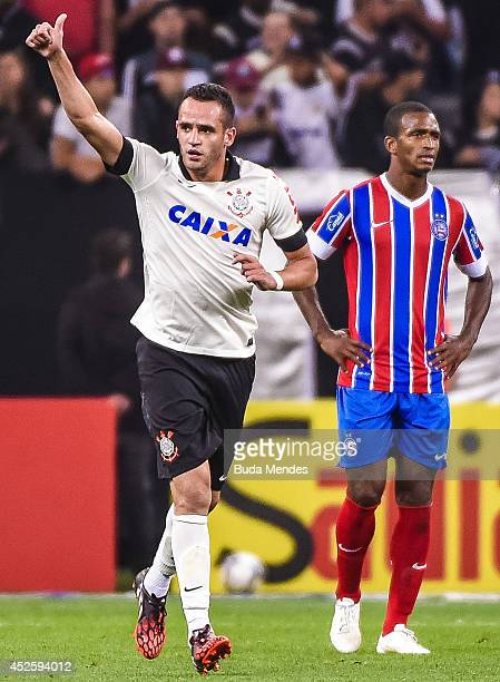 Renato Augusto of Corinthians celebrates a scored goal against Bahia during a match between Corinthians and Bahia as part of Copa do Brasil 2014 at...