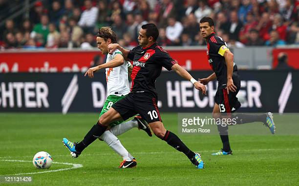 Renato Augusto of Leverkusen and Clemens Fritz of Bremen battle for the ball during the Bundesliga match between Bayer Leverkusen and SV Werder...