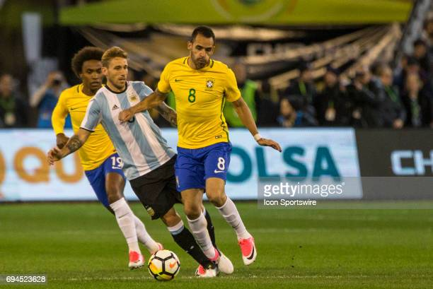 Renato Augusto of the Brazilian National Football Team controls the ball during the International Friendly Match Between Brazilian National Football...