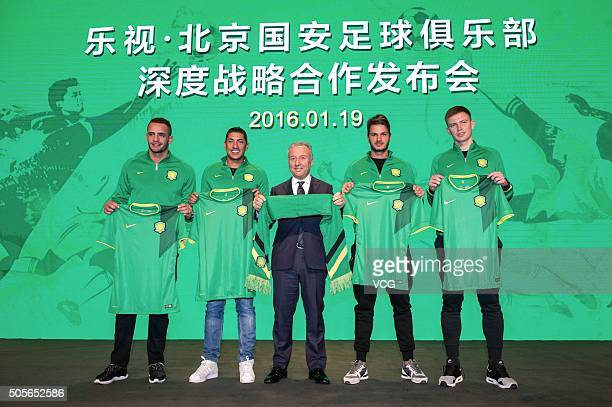 Renato Augusto Ralf head coach Alberto Zaccheroni Kleber and Egor Krimets of Beijing Guoan attend a press conference on January 19 2016 in Beijing...