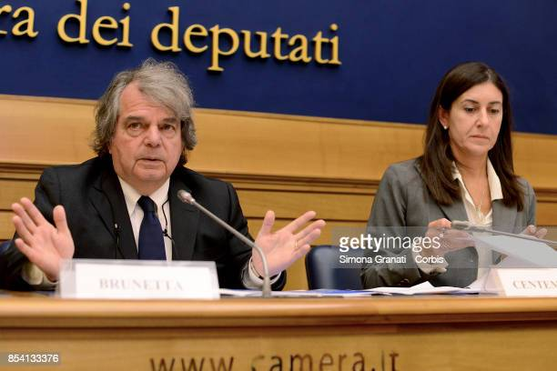 Renato Brunetta and Elena Centemero during the Press conference of Forza Italia party on the reform of the 'Good School' on September 26 2017 in Rome...