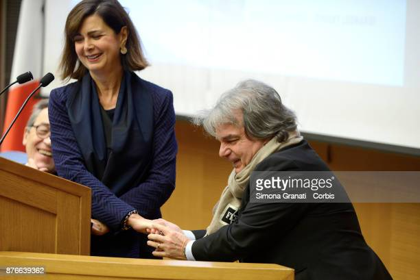 Renato Brunetta greets the President of the Chamber Laura Boldrini during the Presentation of the book 'The challenge of the digital economy' on...