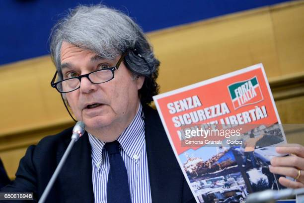 Renato Brunetta parliamentarian of Forza Italia during the presentation of the proposal on Security on March 09 2017 in Rome Italy