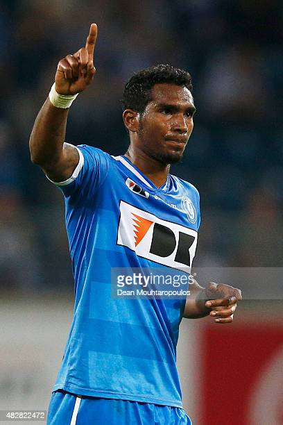 Renato Cardoso Neto of Gent in action during the Jupiler League match between KAA Gent and KRC Genk held at the Ghelamco Arena on July 31 2015 in...