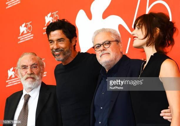 Renato Carpentieri Alessandro Gassmann Roberto Ando and Micaela Ramazzotti attends 'Una Storia Senza Nome' photocall during the 75th Venice Film...