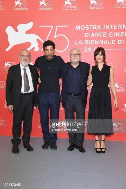 Renato CarpentieriAlessandro GassmannRoberto Ando and Micaela Ramazzotti attend 'Una Storia Senza Nome' photocall during the 75th Venice Film...
