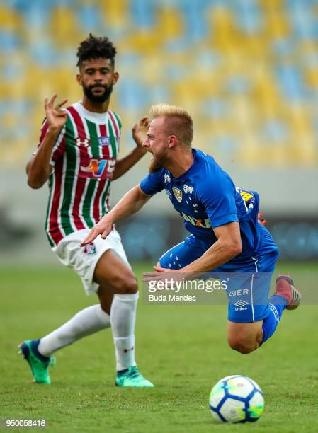 Renato Chaves of Fluminense struggles for the ball with Marcelo Hermes of Cruzeiro during a match between Fluminense and Cruzeiro as part of...