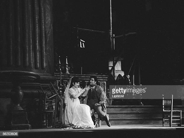 """Renato Cioni and Maria Callas in """"Tosca"""" of Giacomo Puccini. Opera of Paris, February 1965."""