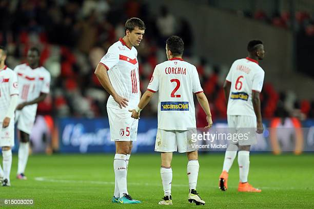 Renato Civelli of Lille and Sebastien Corchia of Lille during the Ligue 1 match between EA Guingamp and Lille OCS at Stade du Roudourou on October...