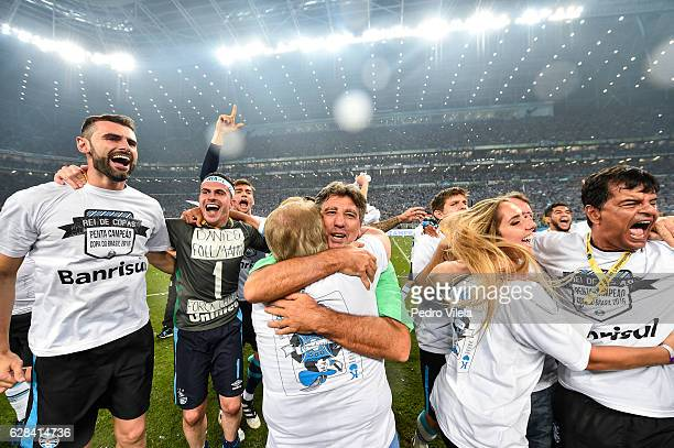 Renato Gaucho coach of Gremio celebrate after a match between Gremio and Atletico MG as part of Copa do Brasil Final 2016 at Arena do Gremio stadium...