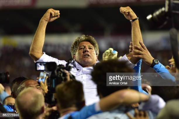 Renato Gaucho coach of Gremio celebrates after he second leg match between Lanus and Gremio as part of Copa Bridgestone Libertadores 2017 Final at...