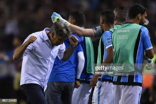 Renato Gaucho coach of Gremio celebrates after the opening goal scored by Fernandinho not in frame during the second leg match between Lanus and...