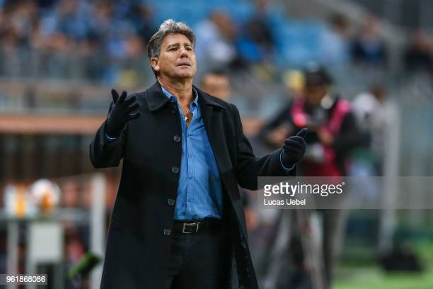 Renato Gaucho coach of Gremio during the match between Gremio and Defensor part of Copa Bridgestone Libertadores 2018 at Arena do Gremio on May 23 in...