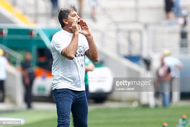 Renato Gaucho coach of Gremio during the match Gremio v AmericaMG as part of Brasileirao Series A 2016 at Arena do Gremio on November 20 in Porto...