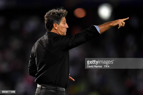 Renato Gaucho Manager of Gremio gives instruction to his team during the FIFA Club World Cup UAE 2017 Final between Gremio and Real Madrid at the...