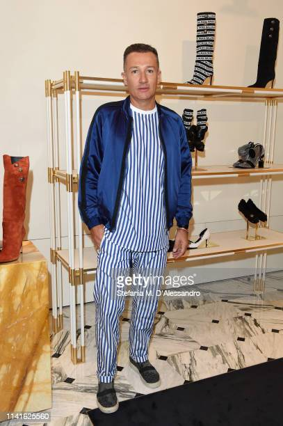 Renato Ghirardelli is seen at Balmain Menswear collection launch as part of Salon del Mobile during Milan Design Week on April 09, 2019 in Milan,...
