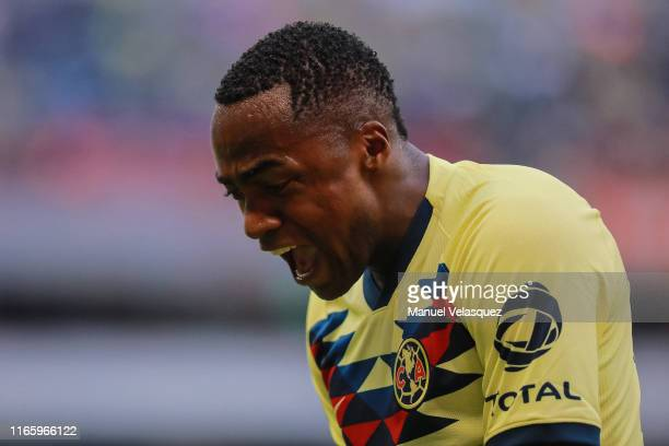 Renato Ibarra Mina of America reacts during the 3rd round match between America and Tijuana as part of the Torneo Apertura 2019 Liga MX at Azteca...