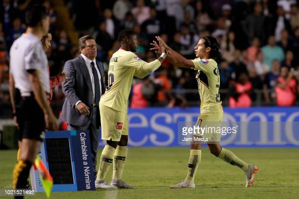 Renato Ibarra of America and Diego Lainez of America during the fifth round match between Queretaro and Club America as part of the Torneo Apertura...