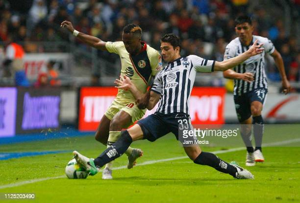 Renato Ibarra of America and Stefan Medina of Monterrey fight for the ball during the 4th round match between Monterrey and America as part of the...