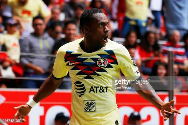 Renato Ibarra of America celebrates after scoring the first goal of his team during the 4th round match between Toluca and America as part of the...