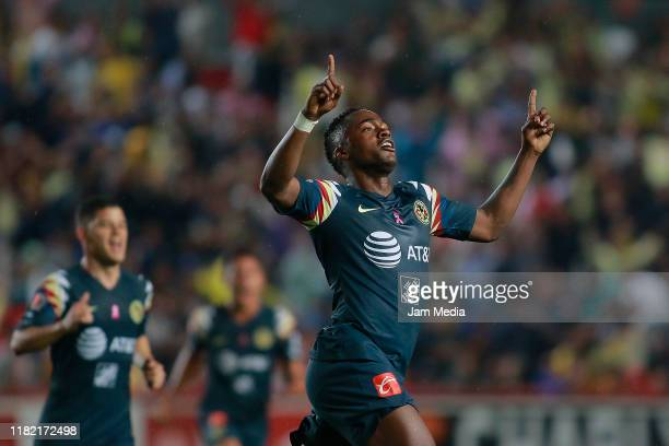 Renato Ibarra of America celebrates after scoring the first goal of his team during the 14th round match between Necaxa and America as part of the...