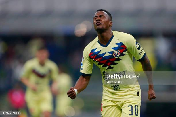 Renato Ibarra of America celebrates after scoring the first goal of his team during the Semifinals second leg match between America and Morelia as...