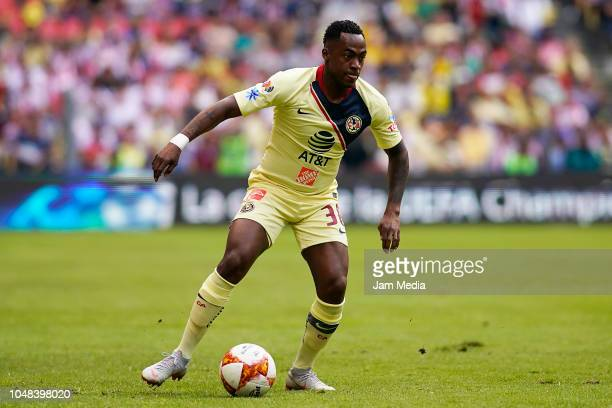 Renato Ibarra of America controls the ball during the 11th round match between America and Chivas as part of the Torneo Apertura 2018 Liga MX at...